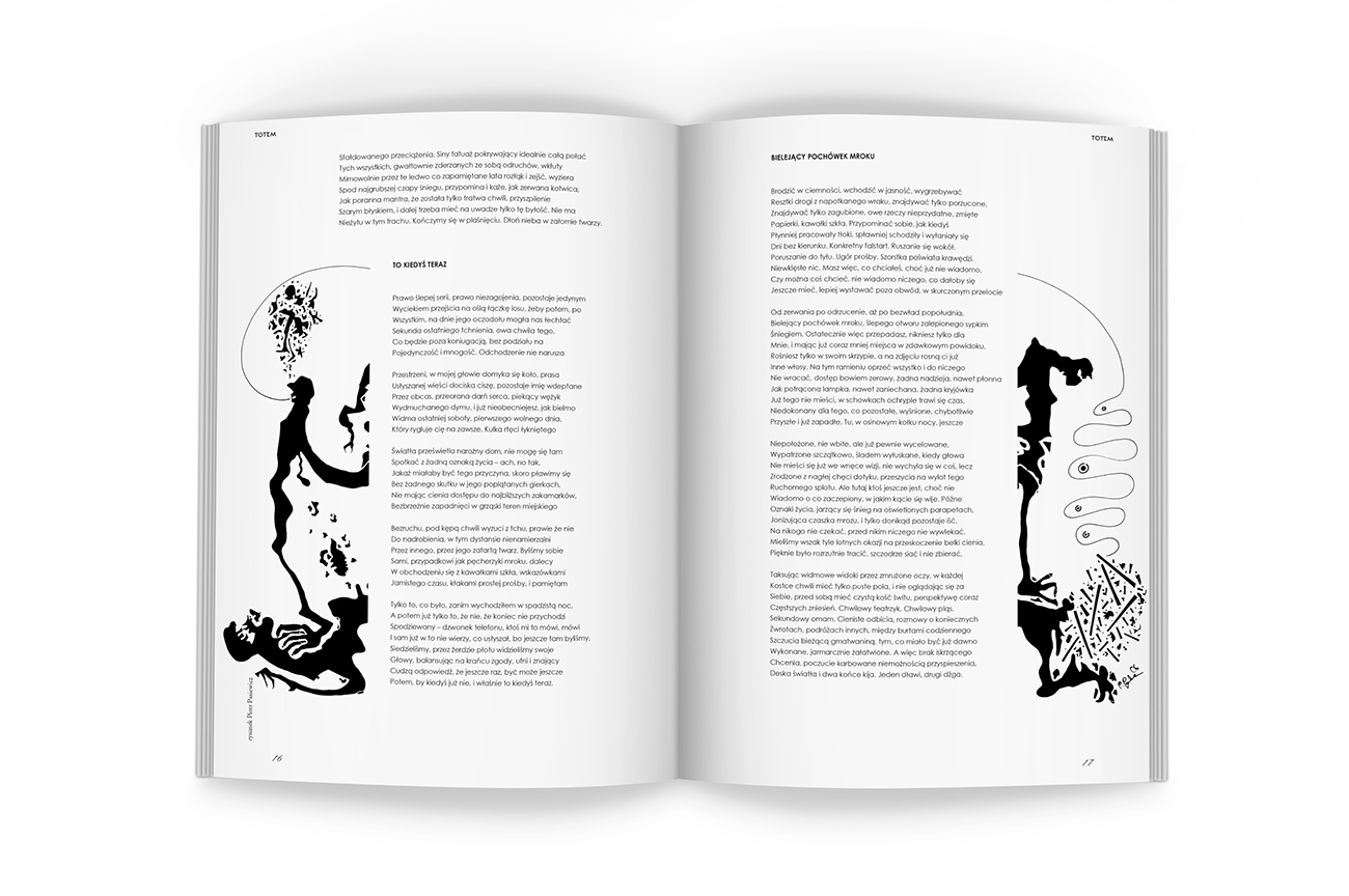 Editorial design. DTP, black illustrations for the Art and Literary Magazine Arterie. Pages.