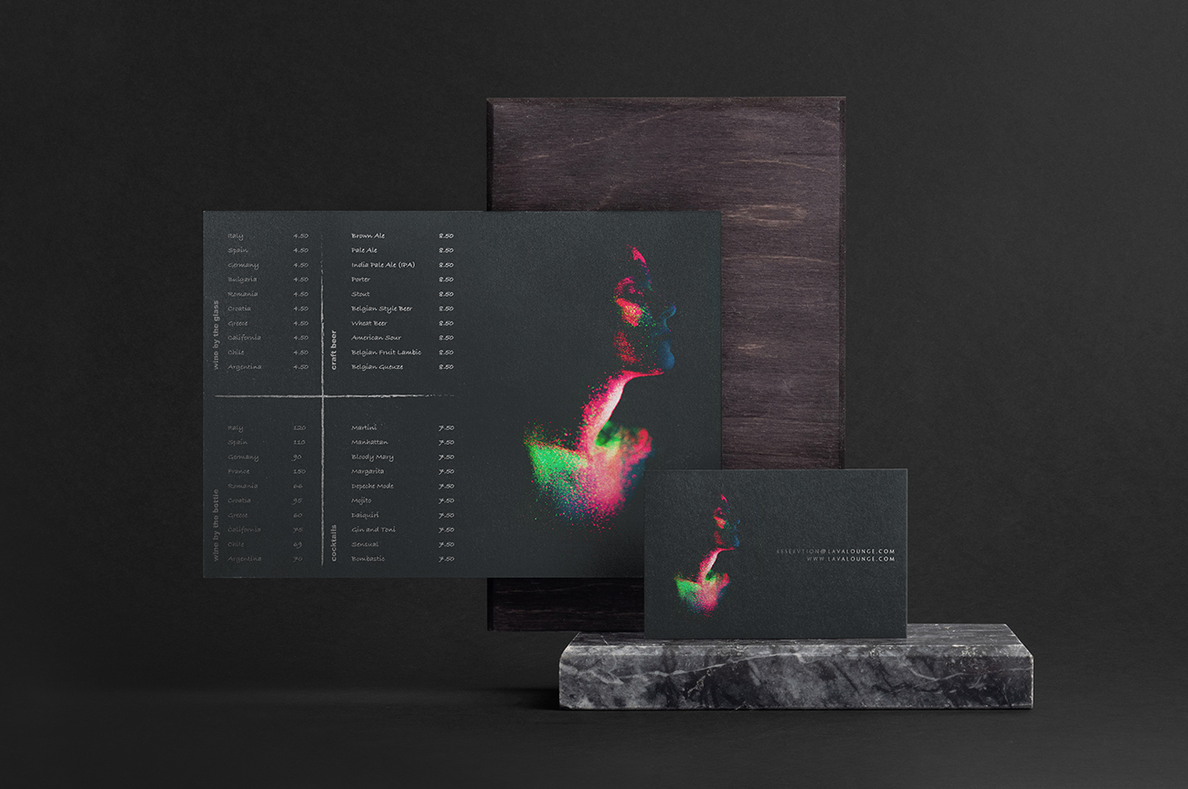 Luxury black bar menu and reservation card design for the night club Lava Lounge Dundalk Ireland