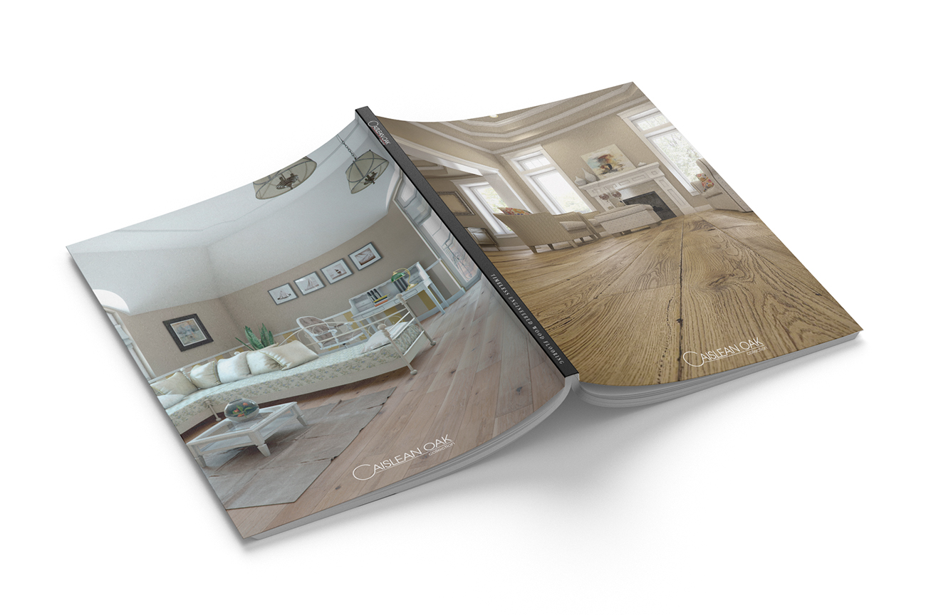 Stylish product catalogue design for the engineered wood flooring collection Caislean Oak. Last and front page.