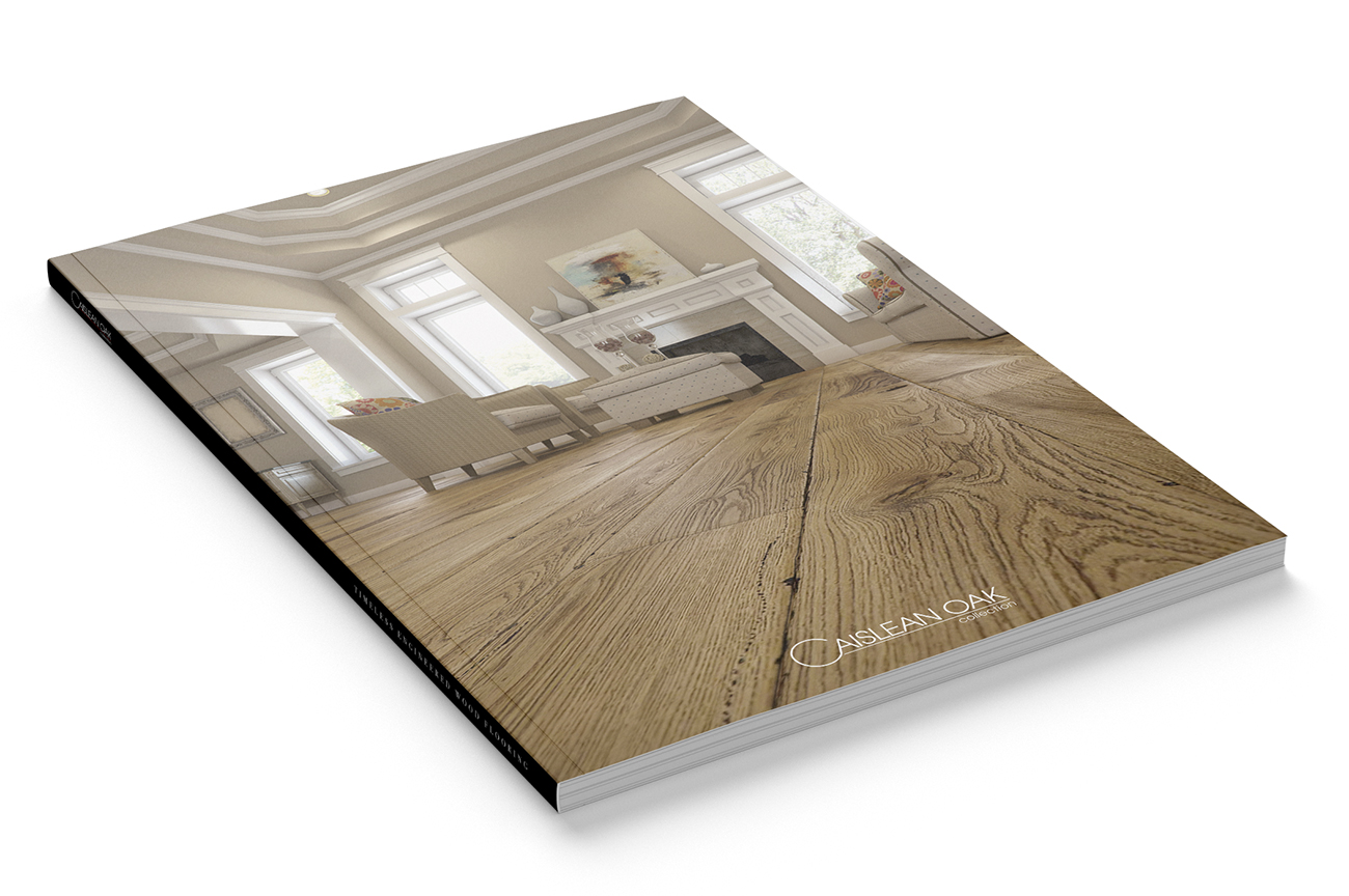 Stylish product catalogue design for the engineered wood flooring collection Caislean Oak. Front page.
