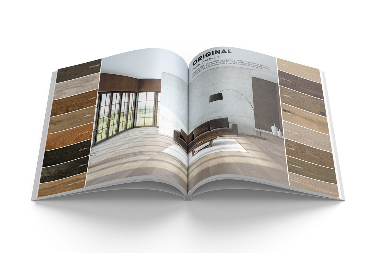 Modern product catalogue design for the engineered wood flooring collection Caislean Oak. Inside pages.