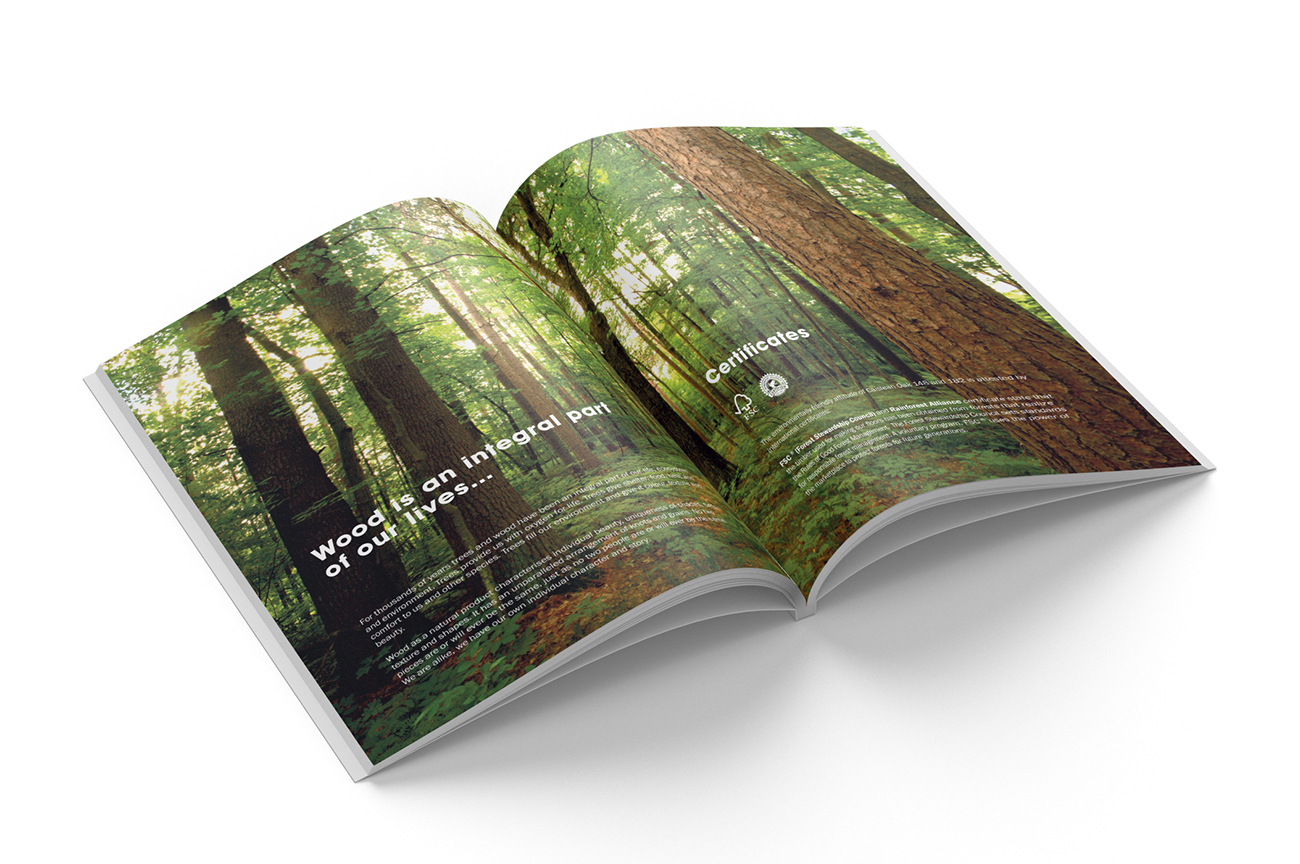 Stylish product catalogue design for the engineered wood flooring collection Caislean Oak. Introduction pages.