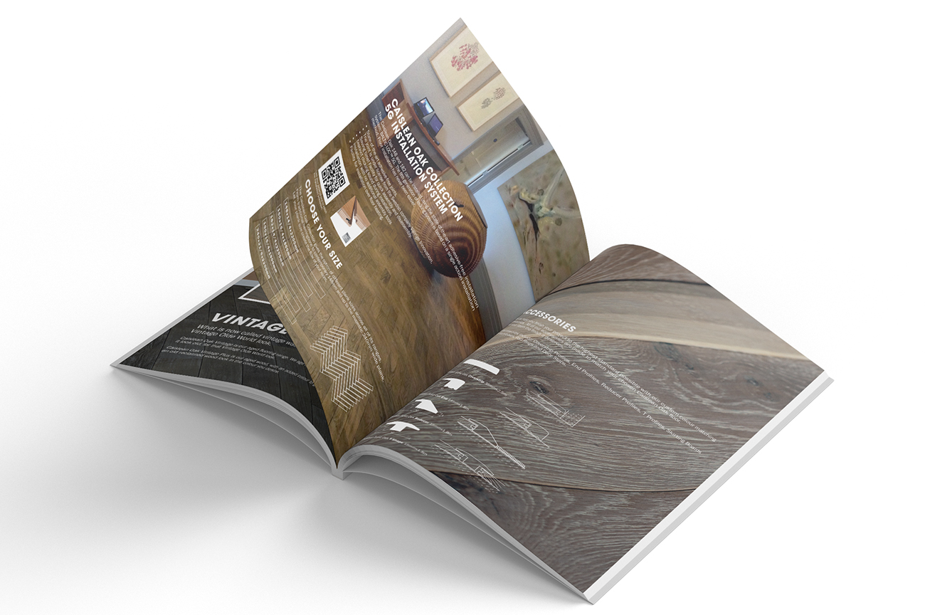 Professional product catalogue design for the engineered wood flooring collection Caislean Oak. Technical details pages.