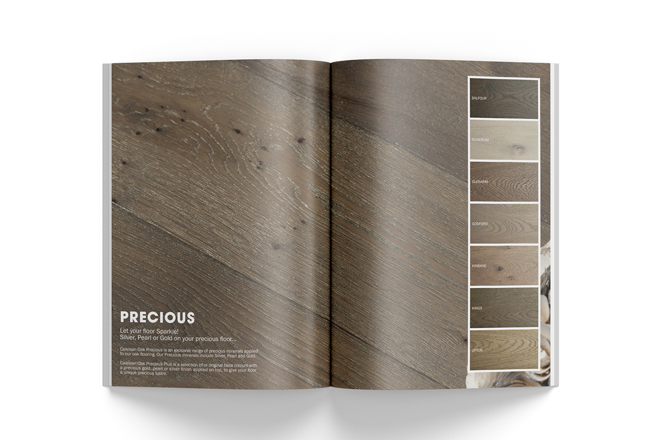Elegant product catalogue design for the engineered wood flooring collection Caislean Oak. Colour samples pages.