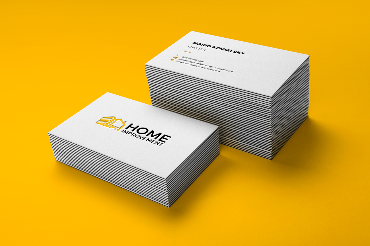Elegant business cards design for the construction company, contractor, handyman MK Home Improvement