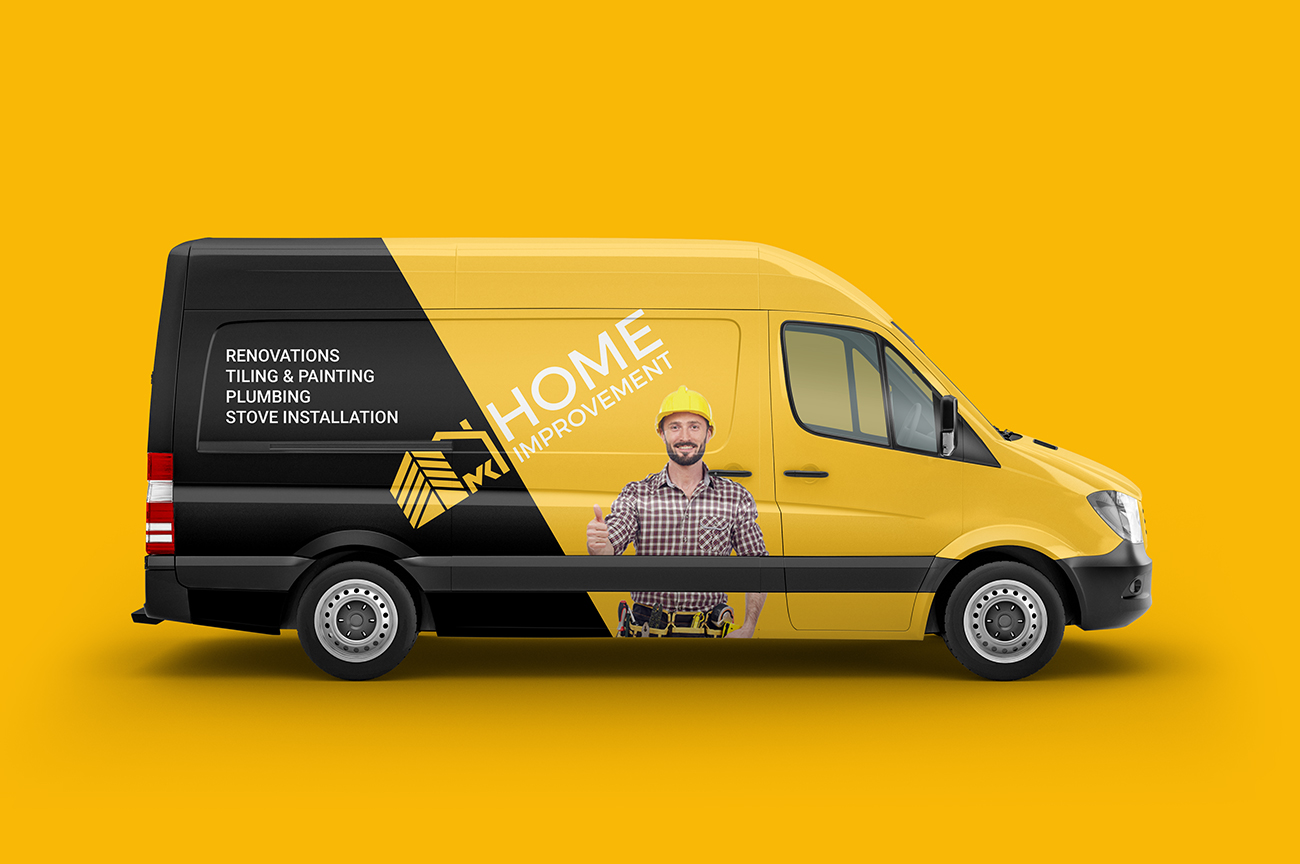 Company van wrap design for the construction company, contractor, handyman MK Home Improvement