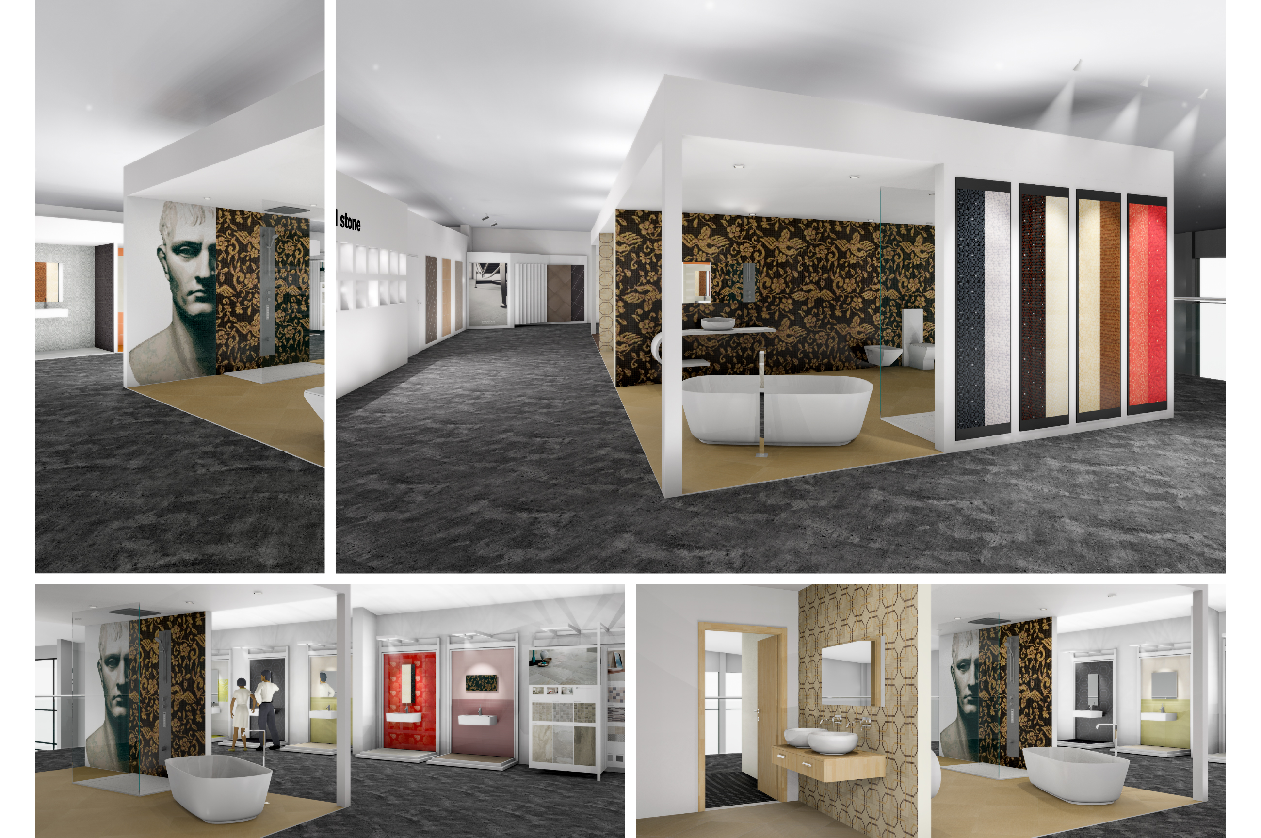 Tile Mountain showroom interior design - exclusive mosaic tiles display and bathroom