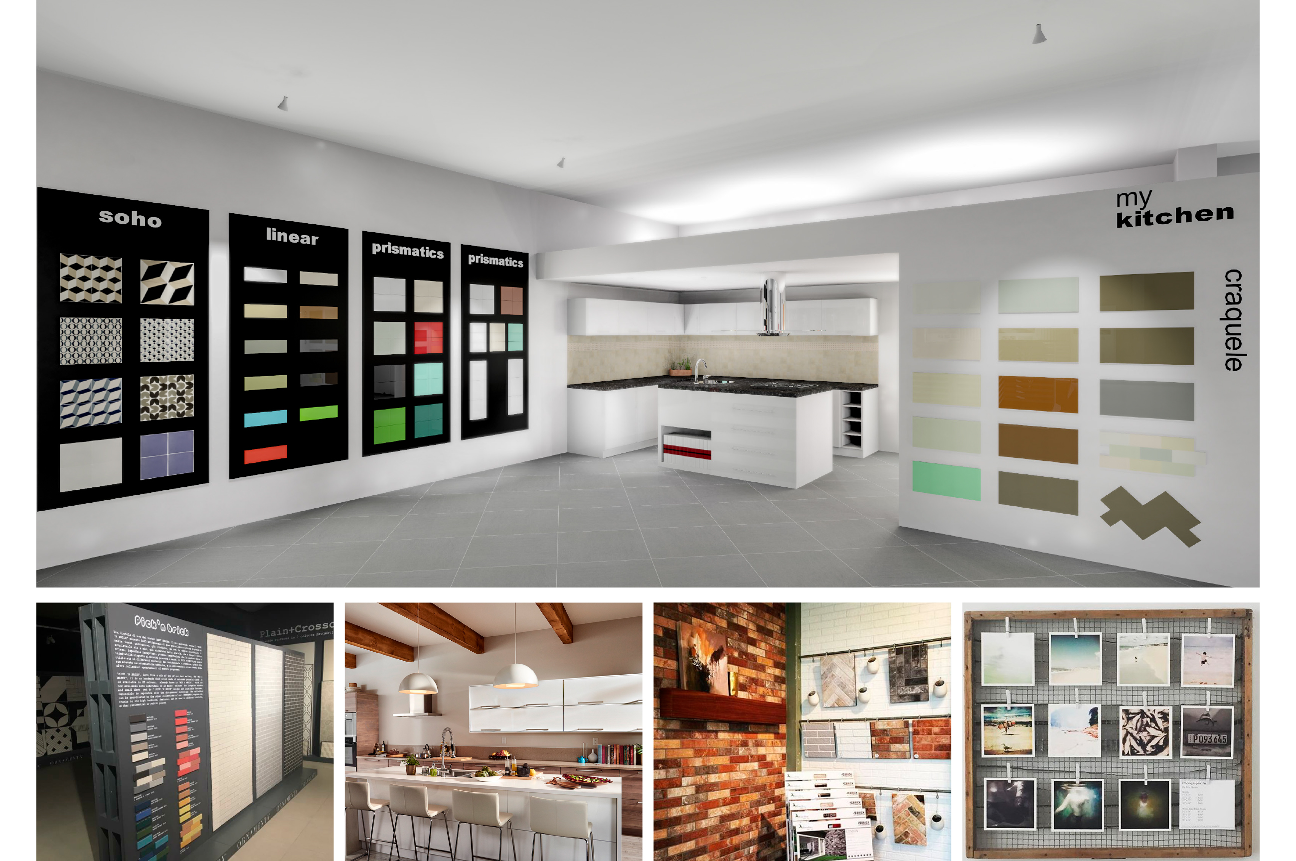 Tile Mountain showroom interior design - creative kitchen tiles display