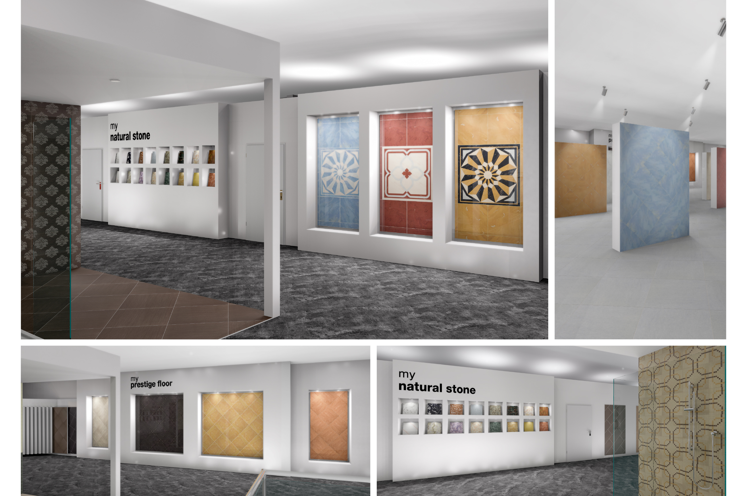 Tile Mountain showroom interior design - creative polished porcelain and marble tiles display