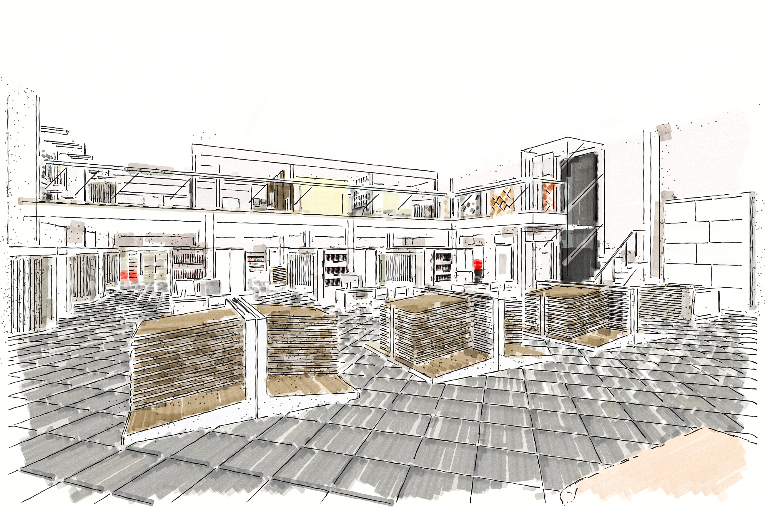 Flagship Tile Mountain showroom interior design drawing