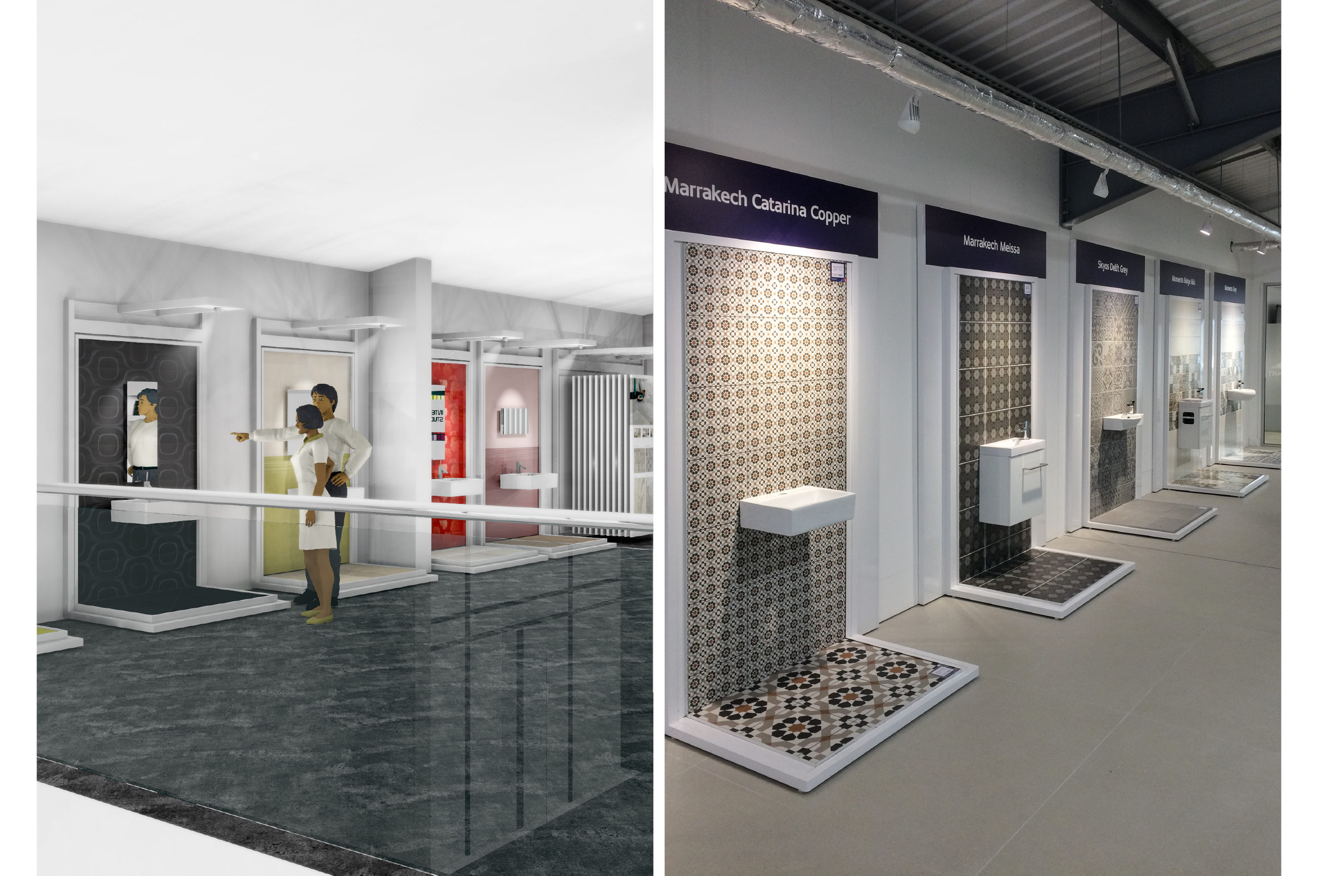 Tile Mountain showroom interior design - free stand displays for wall tiles