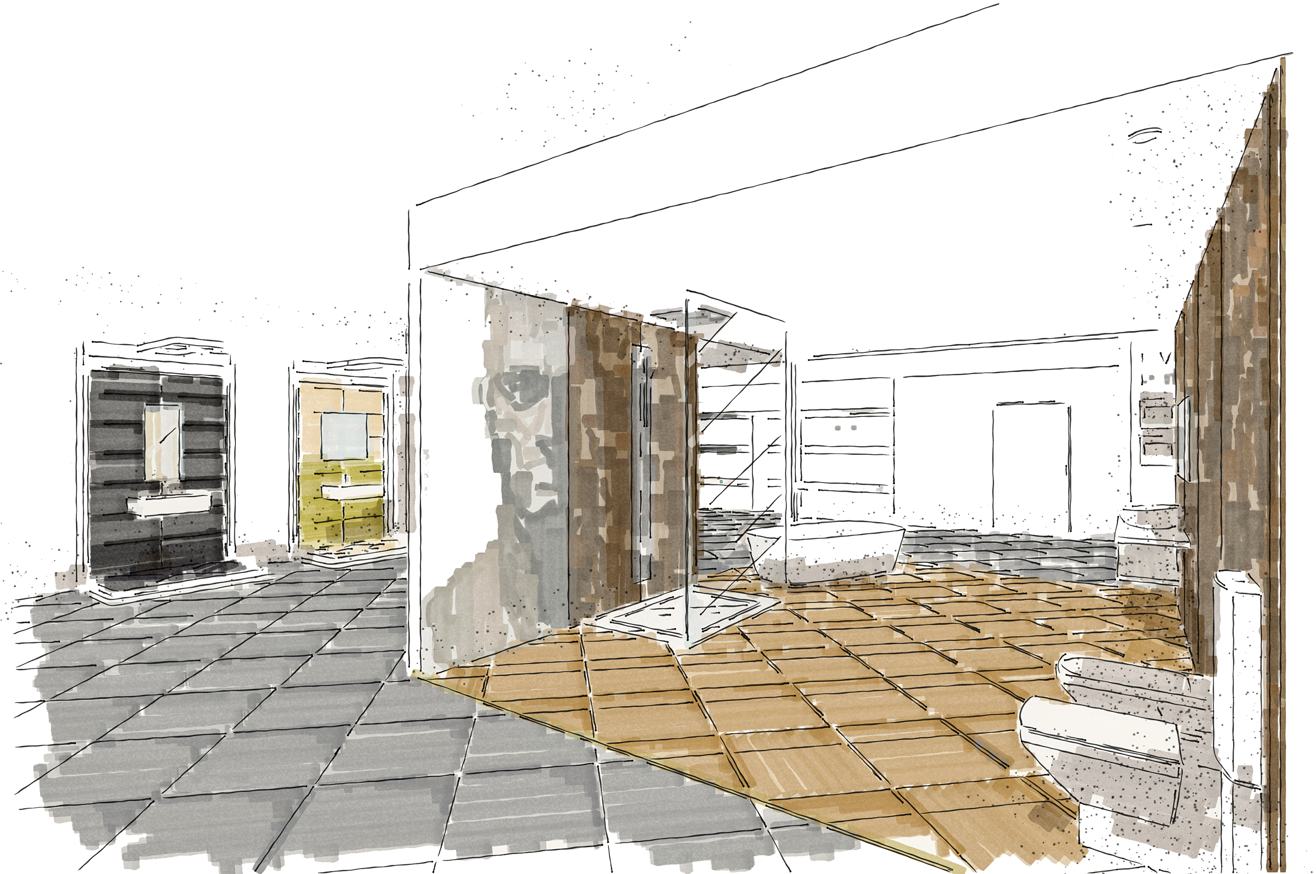 Tile Mountain showroom interior design drawing - mezzanine