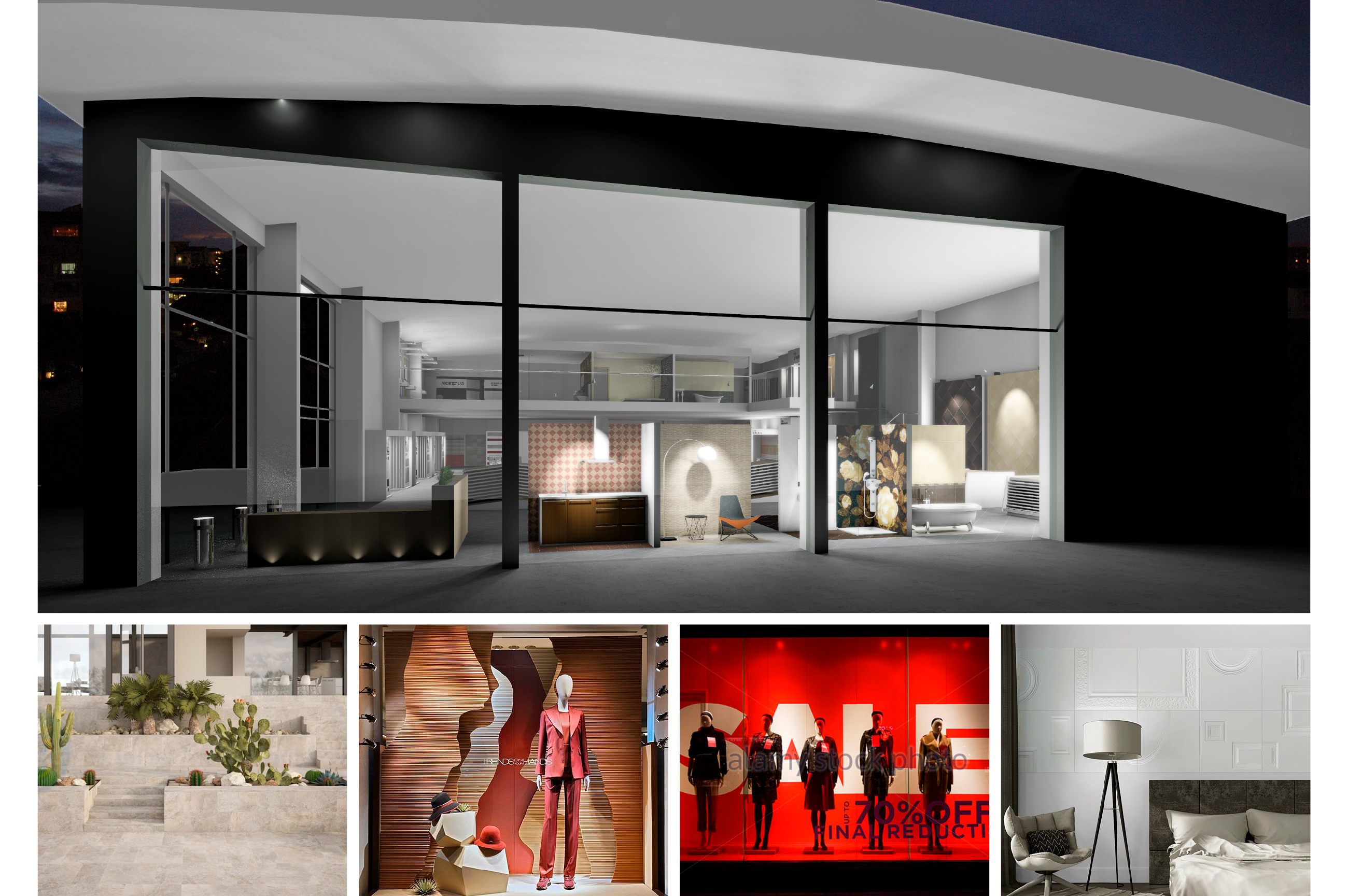 Tile Mountain showroom interior design - street view displays for exclusive tile collections