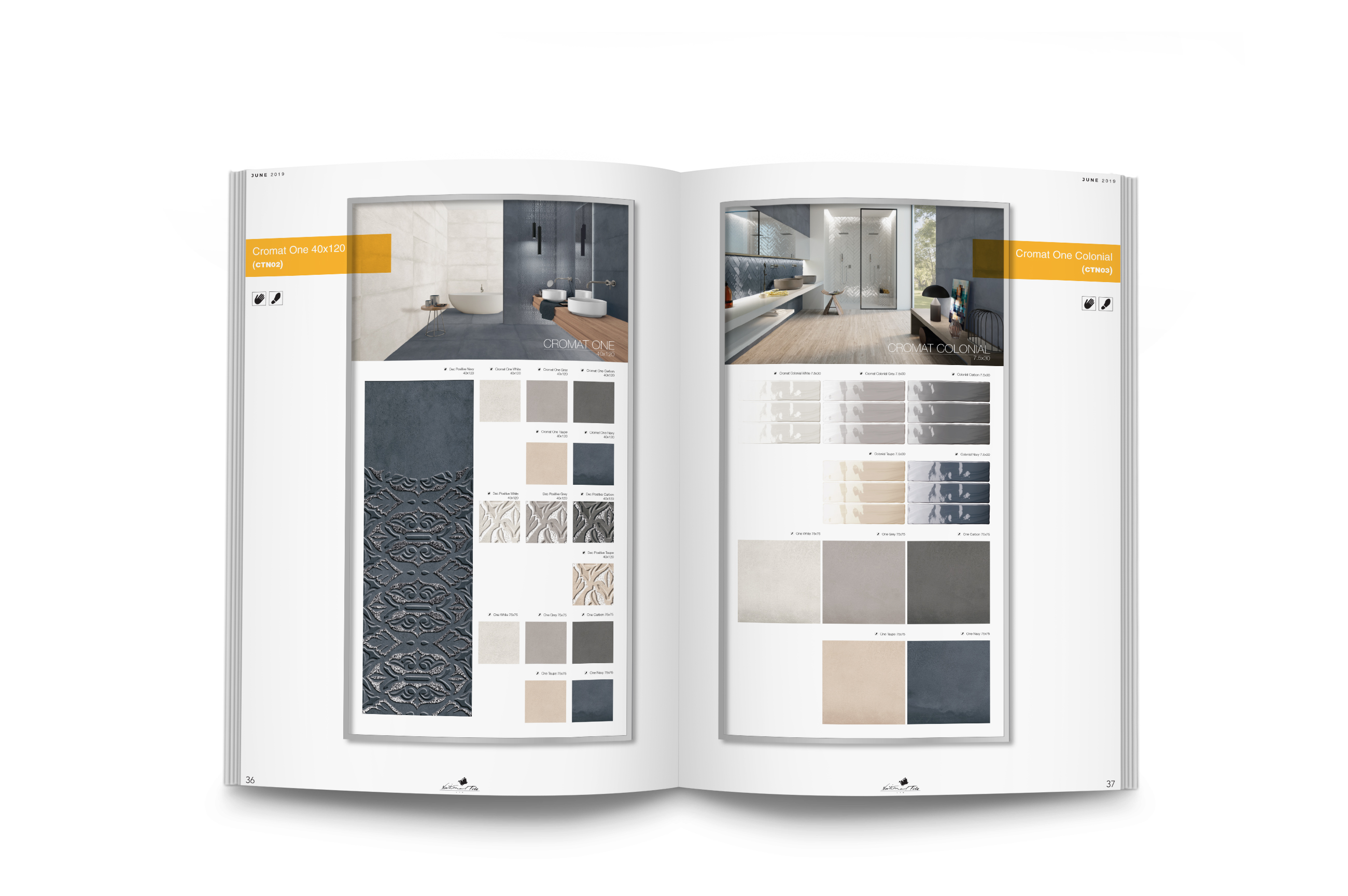 Visual merchandising design for tile distributors and retail.