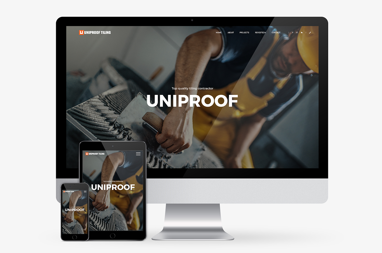 Web design for tilers, contractors, small businesses. Uniproof Tiling website look on different devices