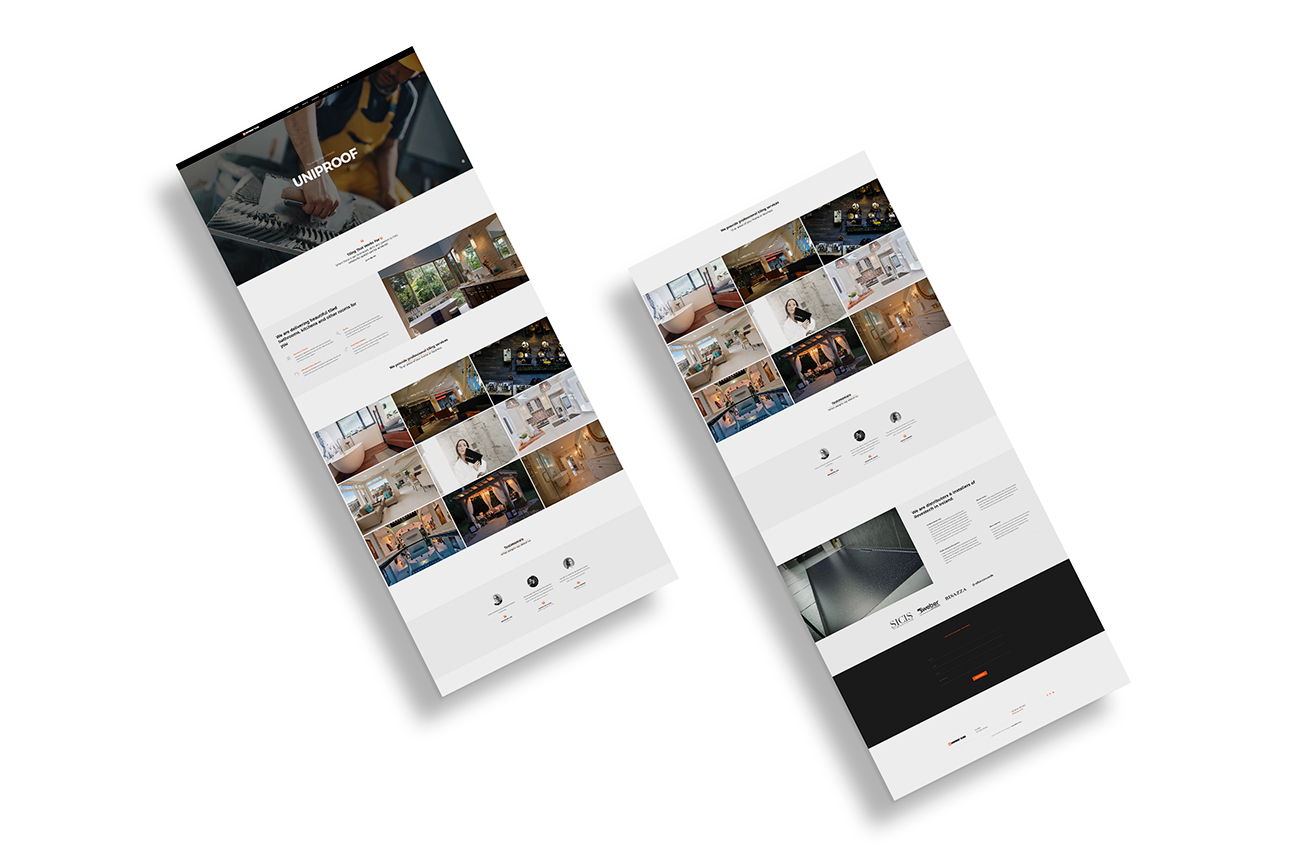 Tiling company website pages layout
