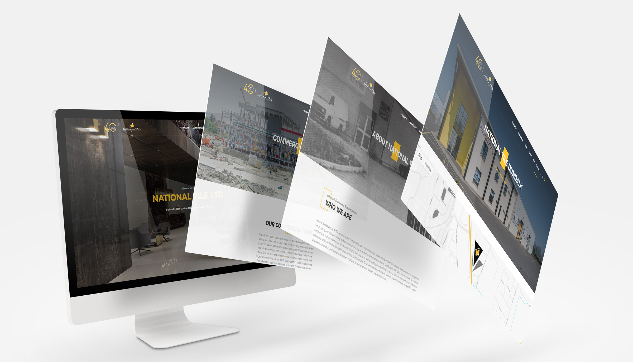 Website design for National Tile. Main pages